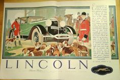 Art Deco Vintage French Ad-Lincoln Automobile by reveriefrance