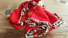 Vintage Gypsy Handmade Scarf With Crochet Lace Flowers The Edges, Anatolian 'Yazma' Scarf by EphesusJewelleries on Etsy