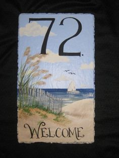 Hand Painted Welcome Sign  Slate Plaque with by DancingBrushes, $49.00 Slate Shingles, Slate Roof, Slate Garden, Painted Slate, Painted Rocks, Slate Art, Painted Mailboxes, Slate Signs, Beach House Signs