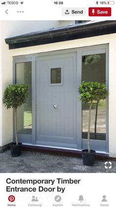 Contemporary Timber Entrance Door by Mumford & Wood. Only issue is position of door knob! Wooden Front Doors, Porch Design, House Front Door, Cottage Front Doors, House Front, Grey Front Doors, Glass Porch, Porch Extension, House Entrance