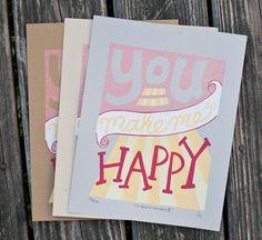 Happy Silkscreen Print  by exit343design