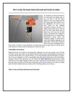 How to buy the #hand #chain #hoist and end trucks in online