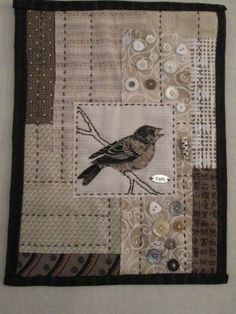 RMM Quilt:  Bird Wall Hanging, simply made using mixed-techniques, broderie perse applique, japanese boro patchwork quilting, embroidery with beads and buttons