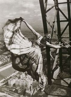 Lisa Fonssagrives at the Eiffel Tower by Erwin Blumenfeld (1939)
