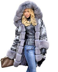 3603e691e92 Aox Women Hood Coat Faux Fur Thicken Lined Overcoat Winter Camo Plus Size  Jacket Snow Parka