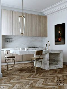 Design Trends 2015 :: Kitchens via Kattie Schiebeck...mix up the woods, modern industrial