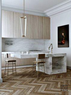 Design Trends 2015 :: Kitchens via Kattie Schiebeck...mix up the woods, modern industrial