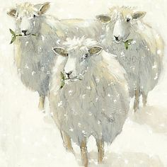 ♞ Artful Animals ♞  bird, dog, cat, fish, bunny and animal paintings - sheep in snow