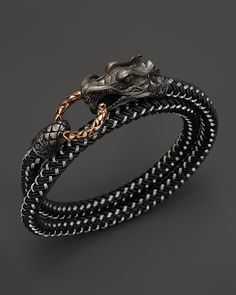 John Hardy Men's Naga Double Wrap Dragon Cord Bracelet