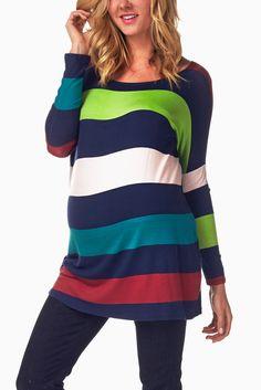 Multi-Colored-Striped-Maternity-Top