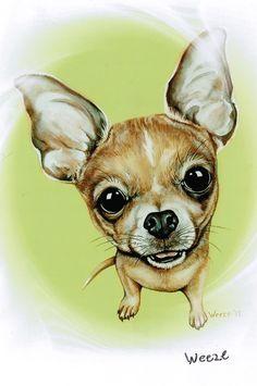 Chihuahua Chihuahua Ornament Chihuahua Magnet por ArtbyWeeze