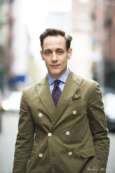 Brian Trunzo | Carson Street Clothiers shirt & tie, Ian Velardi blazer, Drakes pocket square, Barena pants, Yanko for Carson Street Clothiers shoes | SoHo, New York | April 11, 2013.