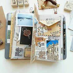 Sempre carregue um caderno nas viagens pra escrever sobre o dia e colocar fotos e cartões postais. ❤ #travelstyle