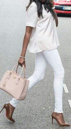 #streetstyle #spring2016 #inspiration |Shades Of Nude and White                                                                             Source