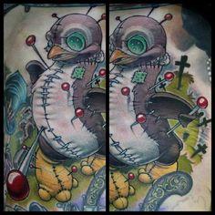Fun #voodoo #penguin #tattoo today! Thanks @damntim! #newschooltattoo #newschool #animaltattoo #colortattoo #penguintattoo
