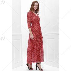 http://www.dresslily.com/v-neck-printed-high-slit-3-4-sleeve-dress-for-women-product1149101.html