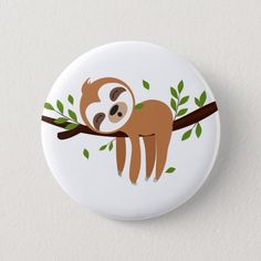 Shop sloth, cute sloth, animal illustration button created by miprincess. Painted Rock Animals, Painted Rocks Craft, Hand Painted Rocks, Painted Pebbles, Rock Painting Patterns, Rock Painting Ideas Easy, Rock Painting Designs, Stone Art Painting, Pebble Painting
