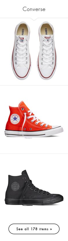 """""""Converse"""" by imjustanotheraccount ❤ liked on Polyvore featuring shoes, sneakers, converse, canvas sneakers shoes, low profile sneakers, low top sneakers, low top canvas sneakers, white trainers, my van is on fire and high-top sneakers"""