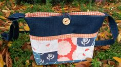 """""""Orange Rock Pop"""" Shoulder Bag by Sue Macaulay of Fancy Pants Bags for the Umbrella Prints Trimmings Challenge 2015.  Made from one packet of Umbrella Prints fabric Trimmings www.umbrellaprints.com.au"""