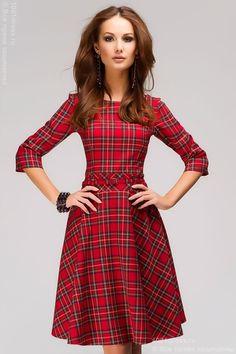 """Платье красное с принтом """"шотландская клетка"""" MM05107RD , красный в интернет магазине Платья для самых красивых 1001dress.Ru"""