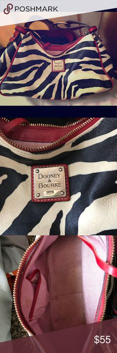Dooney & Bourke small purse Zebra print, cream and black. Good condition outside, inside has a few spots, pics attached showing Dooney & Bourke Bags Shoulder Bags