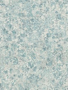 Latania Duck Egg (W6653-04) - Matthew Williamson Wallpapers - A small scale distressed paisley motif on a weathered effect background. Shown in the duck egg blue green. Please request sample for true colour match.