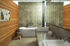 Concrete + Wood  Cool gray punctuated by a warm wood: This combination of engineered and natural materials holds a special appeal for many...