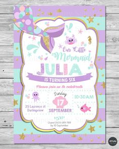 Mermaid Baby Shower Invitation Mother Baby Under the Sea Party Teal