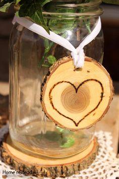Rustic Wedding Tokens Mason Jar Decoration Hearts Table Centerpiece Heart Valentines Day Decor. $4.00, via Etsy.