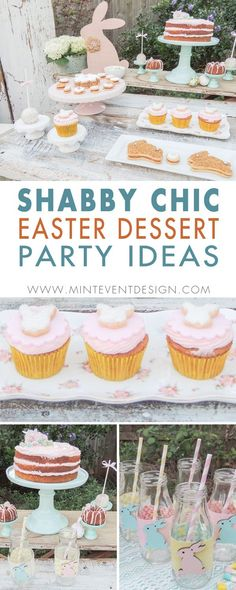 Don't Miss the Cutest Shabby Chic Easter Decor for a Dessert Party at your Easter Egg Hunt. A pretty pastel color palette and a tiered carrot cake with mini bundt cakes spotlight this Easter Dessert Table. Styling by Austin Texas Party Planer Mint Event Design www.minteventdesign.com #eastertable #easterdecor #easterparty #partyideas #easterideas #shabbychic