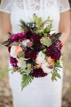 Marsala wine colored floral fall wedding bouquet / http://www.deerpearlflowers.com/greenery-fern-wedding-ideas/