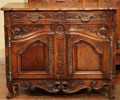 18th Century French Louis XV Carved Walnut Buffet from Provence   From a unique collection of antique and modern buffets at https://www.1stdibs.com/furniture/storage-case-pieces/buffets/