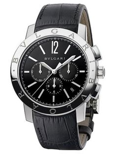 e193d6cfb86 Bulgari Bulgari men s Chronograph watch in a stainless steel case with a  black dial and alligator strap. Automatic movement