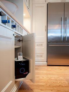Clever! Hide a speaker behind low cabinet doors!