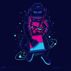 Astronaut - ADOBE ILLUSTRATOR By Ruby Huma on Behance Astronaut Illustration, Space Illustration, Owl Vector, Vector Art, Open Air Kino, Owl Doodle, Screen Printer, Licence Lea, Star Art