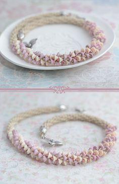 Beaded Necklace Seed Bead Jewelry Crochet Bridal Flower Beads Design Czech Flower Beads Jewelry Floral Necklace Crochet Beads Neckpiece