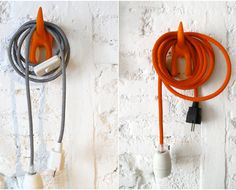 Textile cable lamp with switch and plug - orange. €35,00, via Etsy.