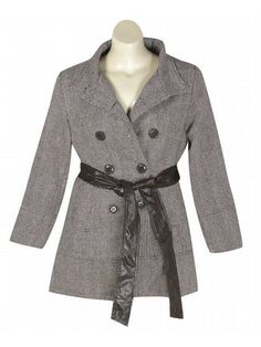Brown Hello Herringbone Coat $54.99  Richly patterned herringbone coat has a double row of buttons at the front, a removable faux leather sash belt, and 2 open hip pockets.   #sale #plussize #plussizefashion #herringbone #pattern #coat #brown #buttons #belt #belted #outwear #fall #winter