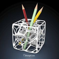 3D printed pencil holder by dizingof on ponoko
