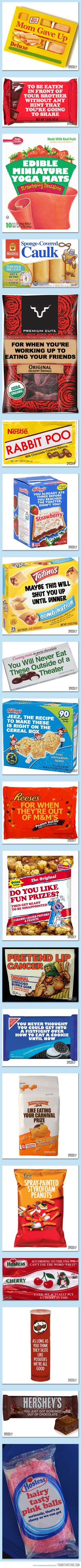 "20 Original Names for Famous Snack Foods    These are HILARIOUS! I especially like ""mom gave up"" haha"