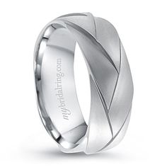 This Wedding Band is Comfort-Fit Braided Design with Brush-Finish in 14k White Gold - http://www.mybridalring.com/Mens/braided-brush-finish-wedding-band-in-14k-white-gold/
