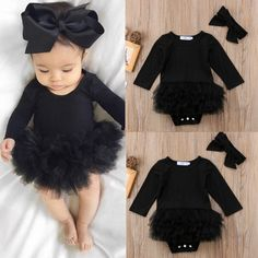 Cute Newborn Baby Girl Tutu Romper Jumpsuit Bodysuit Dress Clothes Headband Outfit Sets - May 19 2019 at Kids Dress Clothes, Winter Baby Clothes, Winter Outfits For Girls, Baby Winter, Cute Baby Clothes, Kids Outfits, Winter Hair, Fall Baby, Summer Baby