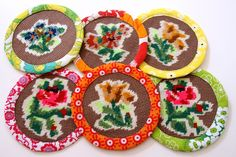 coasters made from vintage embroidery