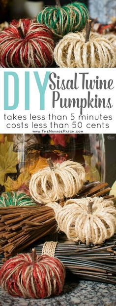 DIY Sisal Twine Pumpkins | How to make dual colored twine pumpkins | Easy and budget friendly DIY fall decoration | Dollar store crafts | TheNavagePatch.com