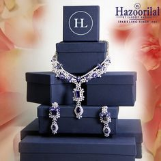 Gifts of love.  Let love flow freely by gifting her this necklace set in sapphires only from the House of #HazoorilalBySandeepNarang #Diamonds #Sapphires #FineJewelry #JewelleryGifts #Valentine's #SeasonOfLove #HazoorilalCelebrates #Hazoorilal