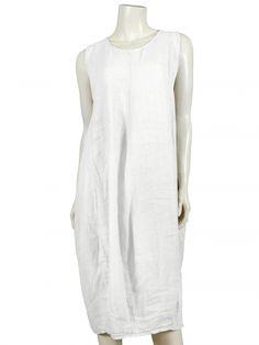 Damen Leinenkleid, weiss von Spaziodonna bei www.meinkleidchen.de