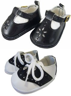 227819e4431811 Black T-Strap + Saddle Shoes made for Bitty Baby + Twins Doll Clothes
