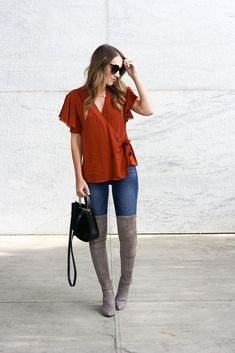 b85808fe4d3 Fall outfit idea - ruffle sleeve wrap top