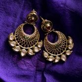 Maesha Statement Kundan Earrings with Gold Jali red and green meenakari Indian Traditional Ethnic wear