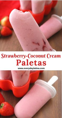 Strawberry-Coconut Cream Paletas (Popsicles) are reminiscent of the paletas my daughter fell in love with in Mexico, but  with a dairy-free and refined-sugar free twist. #paletas #popsicles #strawberriesandcream #fresasconcremadecoco